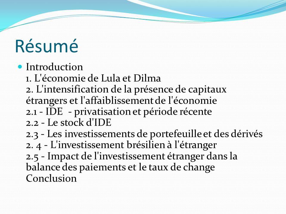 Résumé Introduction 1. L économie de Lula et Dilma 2.