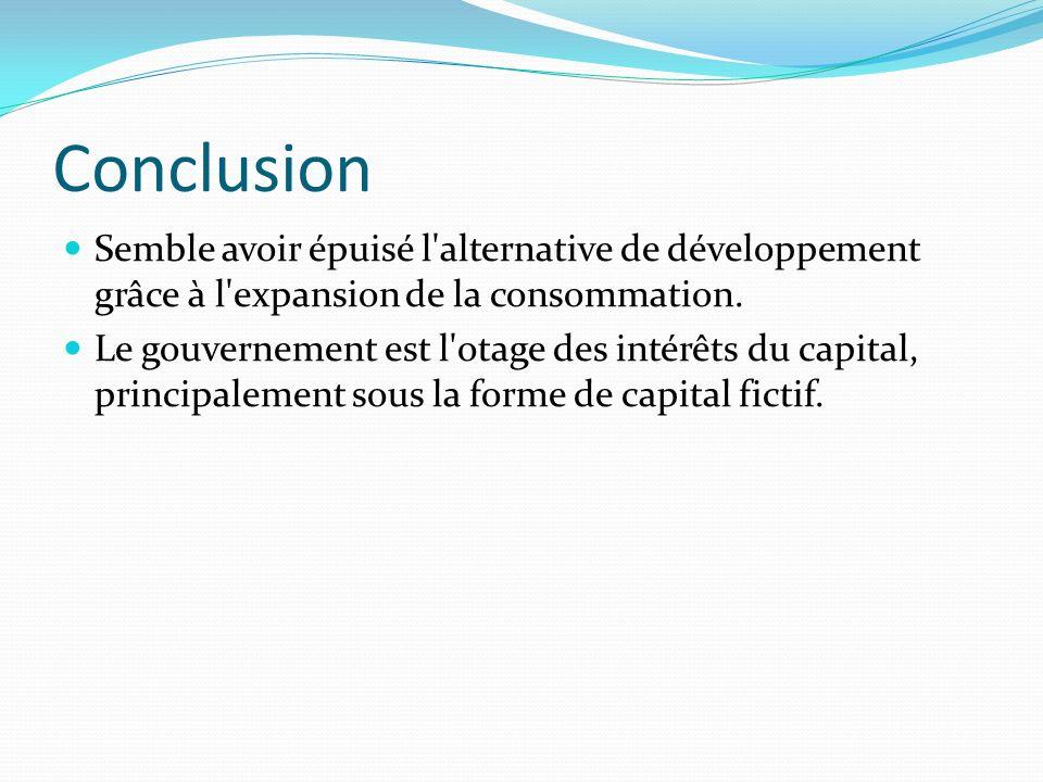 Conclusion Semble avoir épuisé l alternative de développement grâce à l expansion de la consommation.
