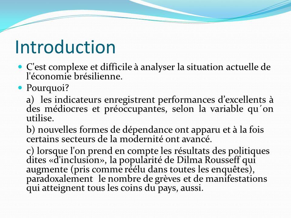Introduction C est complexe et difficile à analyser la situation actuelle de l économie brésilienne.