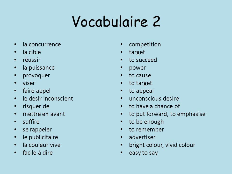 Vocabulaire 2 la concurrence la cible réussir la puissance provoquer viser faire appel le désir inconscient risquer de mettre en avant suffire se rapp