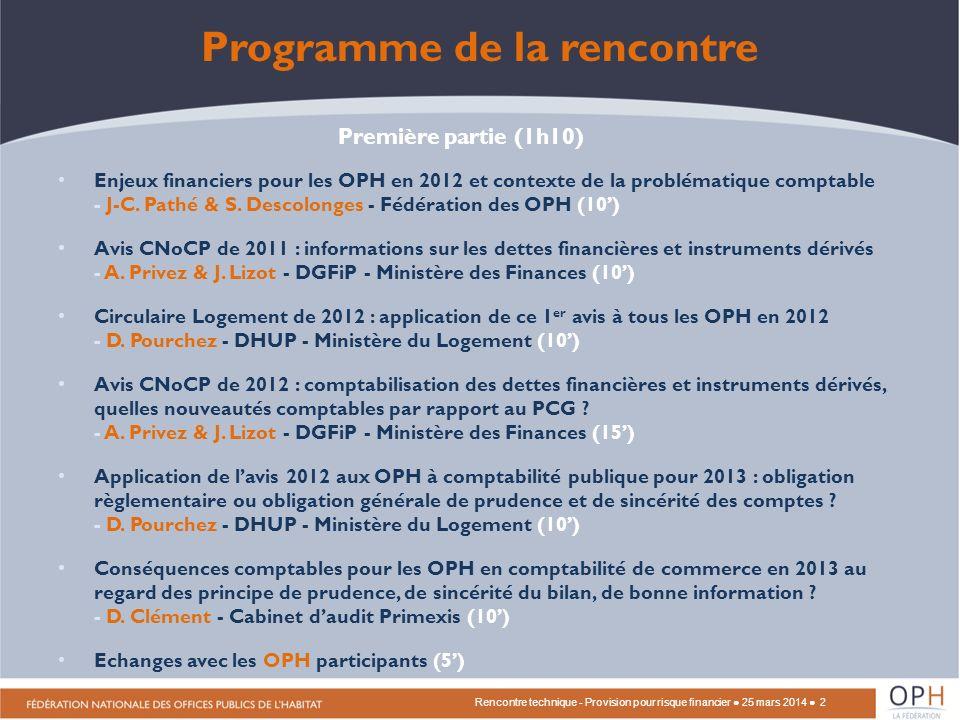 Programme de la rencontre Enjeux financiers pour les OPH en 2012 et contexte de la problématique comptable - J-C.