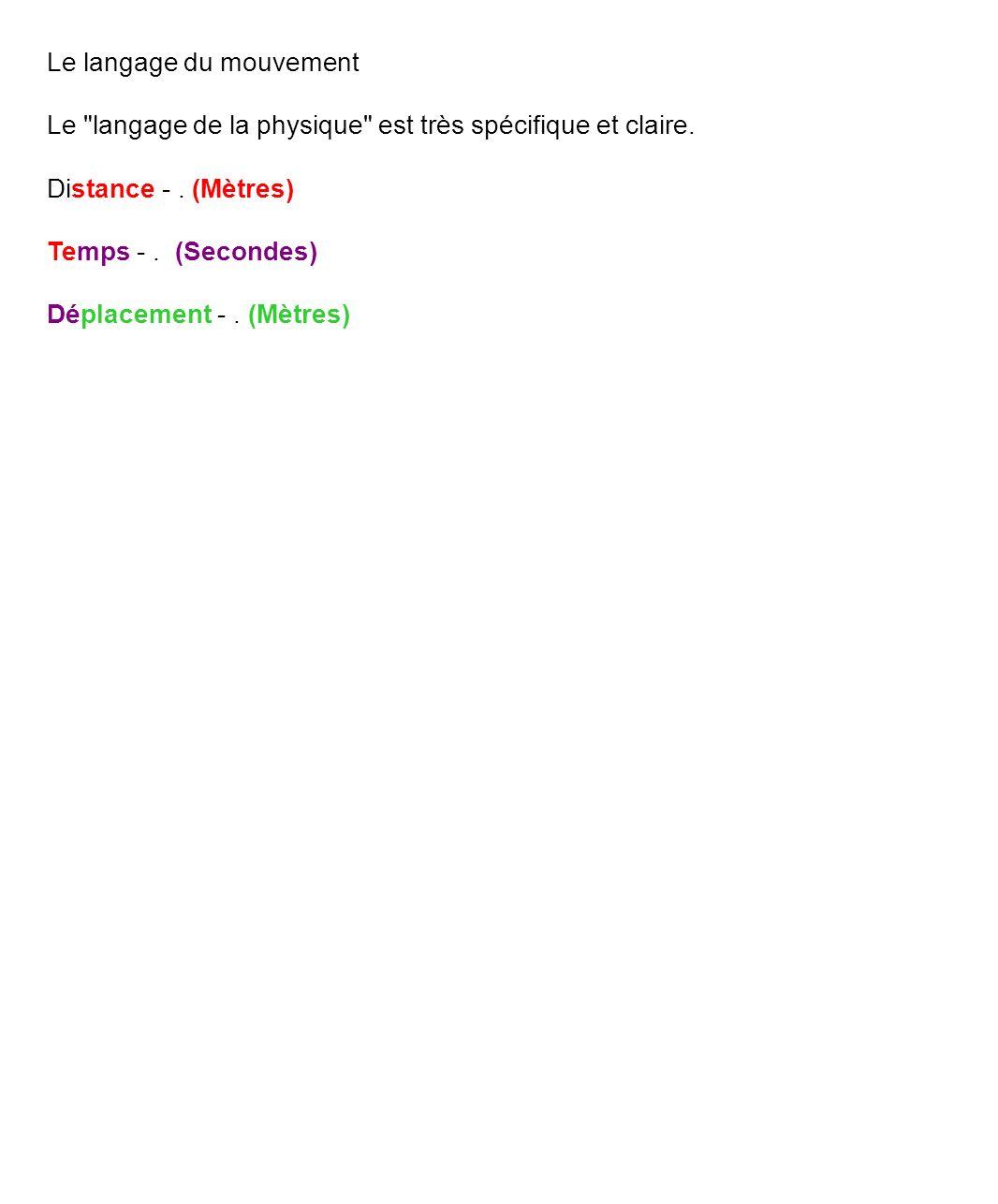 Le langage du mouvement Le langage de la physique est très spécifique et claire.