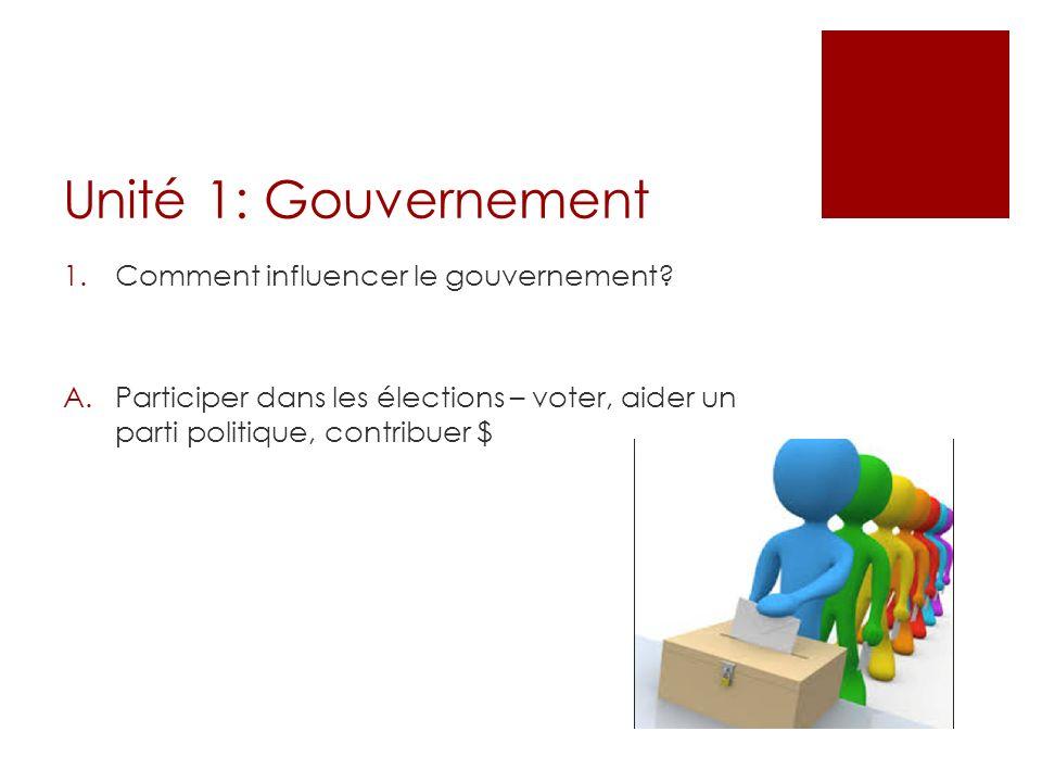 Unité 1: Gouvernement 1.Comment influencer le gouvernement? A.Participer dans les élections – voter, aider un parti politique, contribuer $