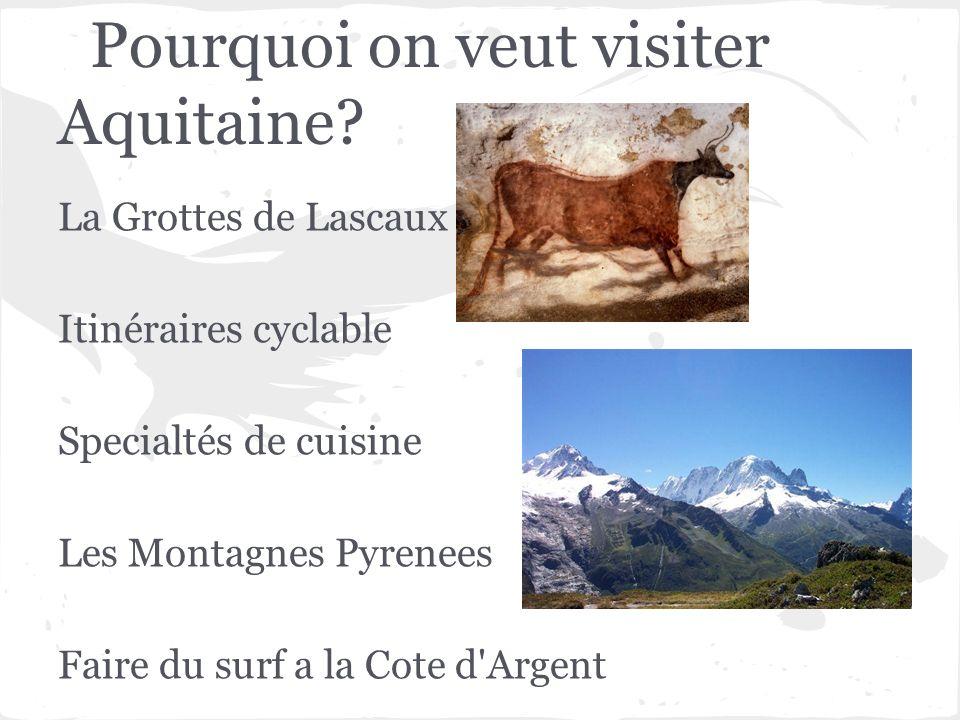 Pourquoi on veut visiter Aquitaine? La Grottes de Lascaux Itinéraires cyclable Specialtés de cuisine Les Montagnes Pyrenees Faire du surf a la Cote d'