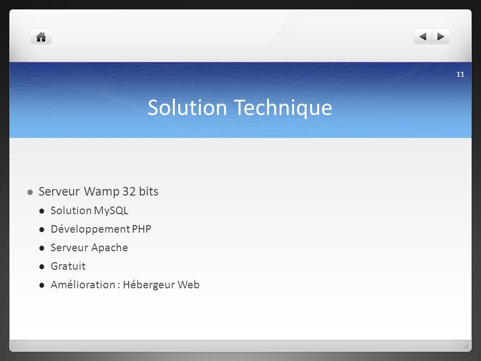 Solution Technique Serveur Wamp 32 bits Solution MySQL Développement PHP Serveur Apache Gratuit Amélioration : Hébergeur Web 11