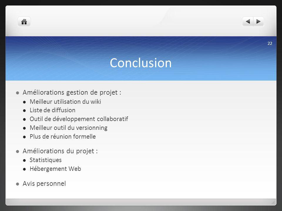 Conclusion Améliorations gestion de projet : Meilleur utilisation du wiki Liste de diffusion Outil de développement collaboratif Meilleur outil du ver