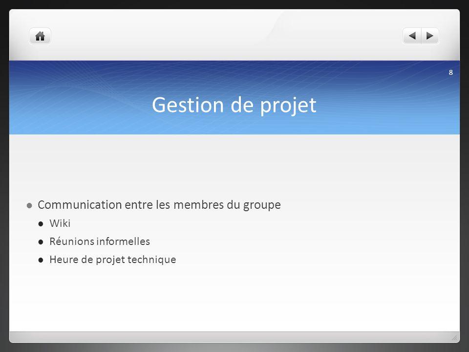 Gestion de projet Communication entre les membres du groupe Wiki Réunions informelles Heure de projet technique 8