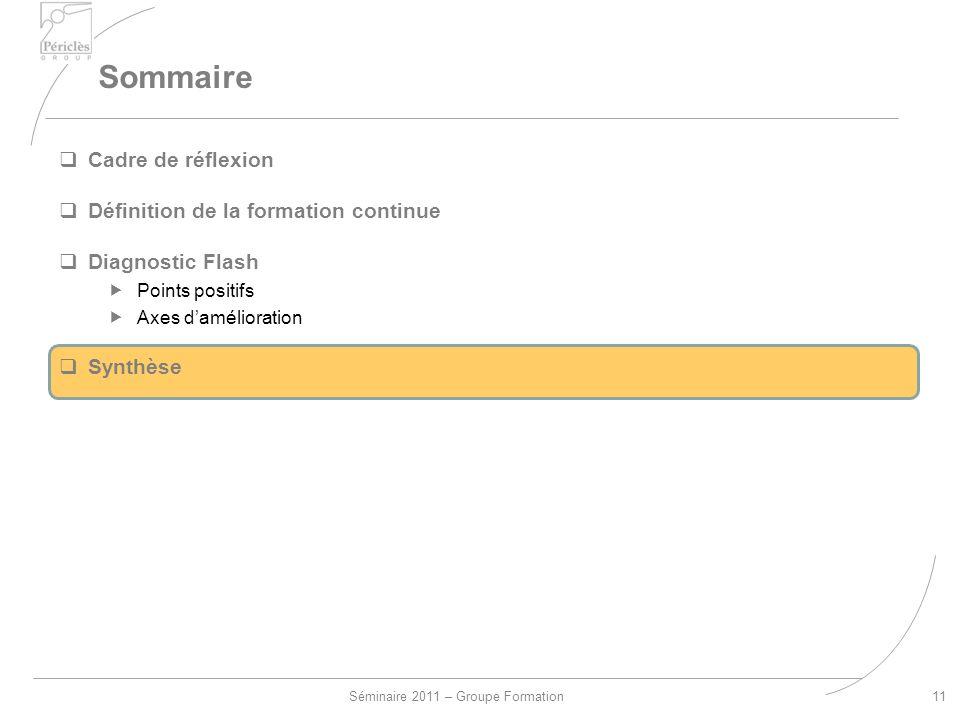 Séminaire 2011 – Groupe Formation Sommaire 11 Cadre de réflexion Définition de la formation continue Diagnostic Flash Points positifs Axes damélioration Synthèse