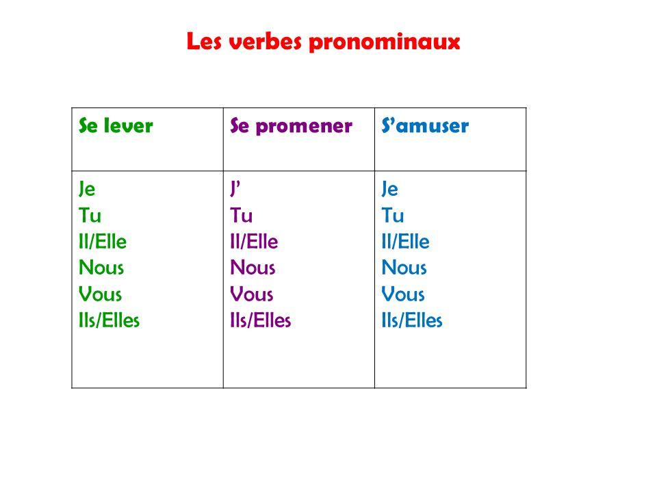 Les verbes pronominaux Se leverSe promenerSamuser Je Tu Il/Elle Nous Vous Ils/Elles J Tu Il/Elle Nous Vous Ils/Elles Je Tu Il/Elle Nous Vous Ils/Elles