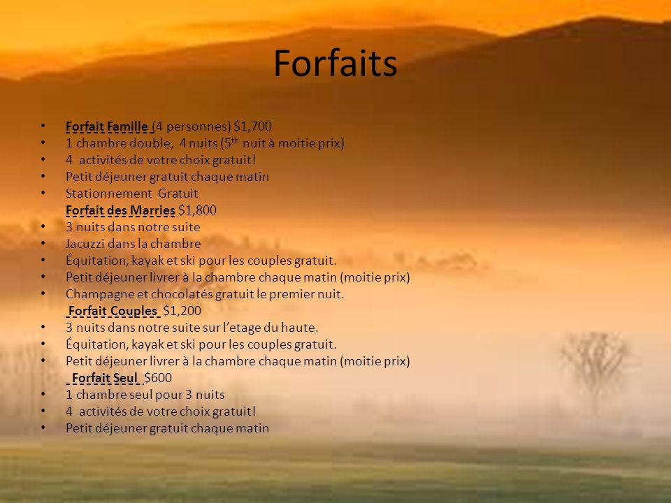 Forfaits Forfait Famille (4 personnes) $1,700 1 chambre double, 4 nuits (5 th nuit à moitie prix) 4 activités de votre choix gratuit.