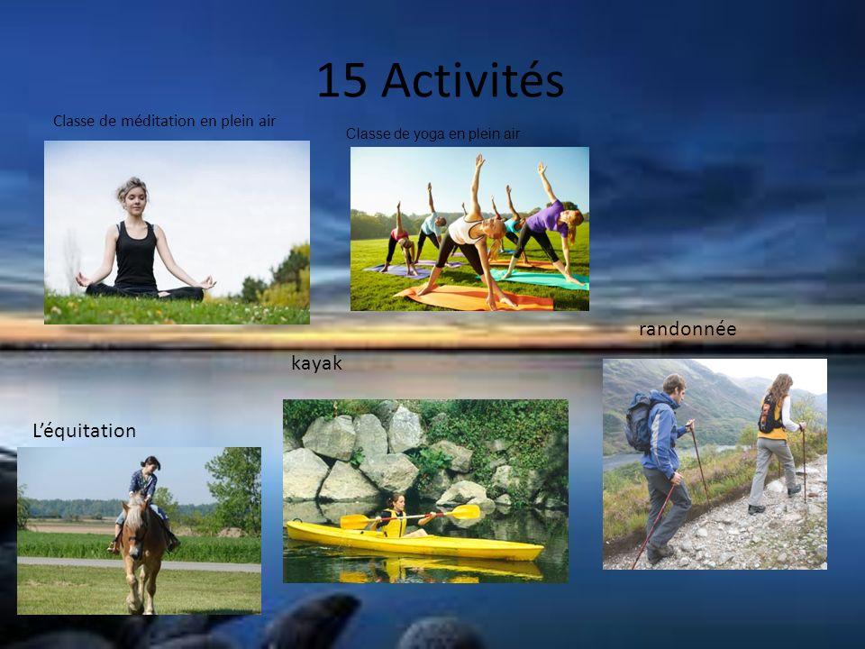 15 Activités Classe de méditation en plein air Classe de yoga en plein air Léquitation kayak randonnée