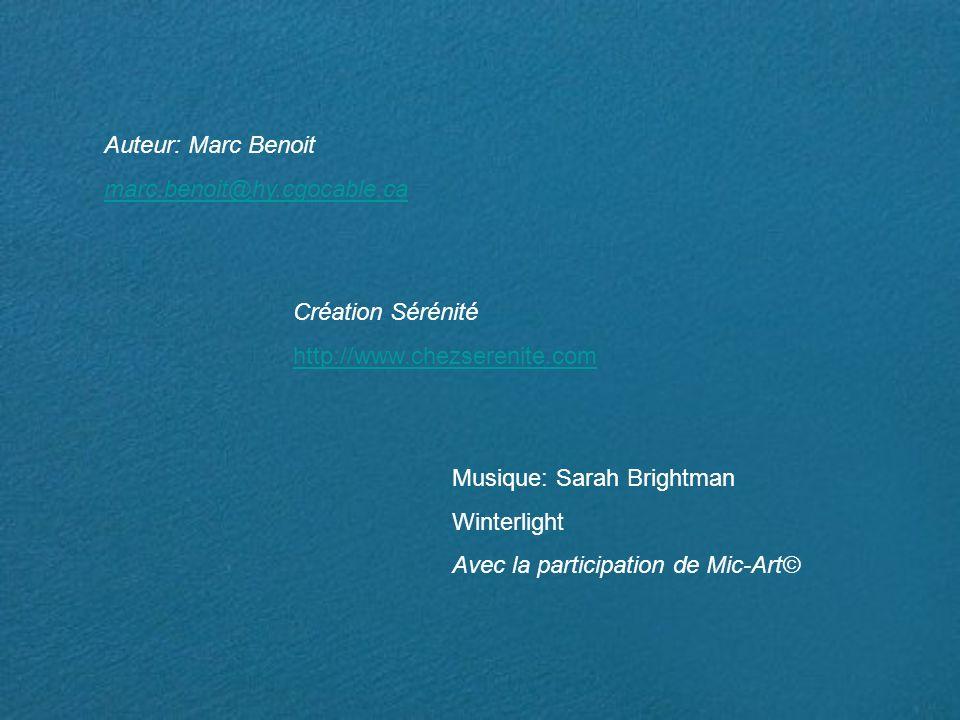 Auteur: Marc Benoit marc.benoit@hy.cgocable.ca Création Sérénité http://www.chezserenite.com Musique: Sarah Brightman Winterlight Avec la participation de Mic-Art©