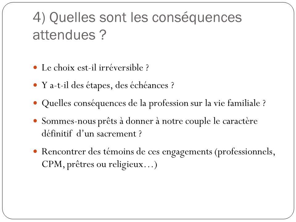 4) Quelles sont les conséquences attendues ? Le choix est-il irréversible ? Y a-t-il des étapes, des échéances ? Quelles conséquences de la profession