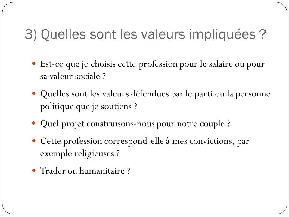 3) Quelles sont les valeurs impliquées ? Est-ce que je choisis cette profession pour le salaire ou pour sa valeur sociale ? Quelles sont les valeurs d
