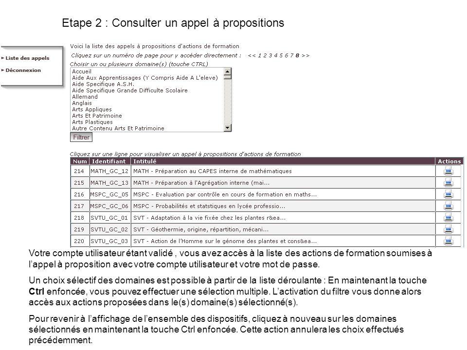 Etape 2 : Consulter un appel à propositions Votre compte utilisateur étant validé, vous avez accès à la liste des actions de formation soumises à lappel à proposition avec votre compte utilisateur et votre mot de passe.