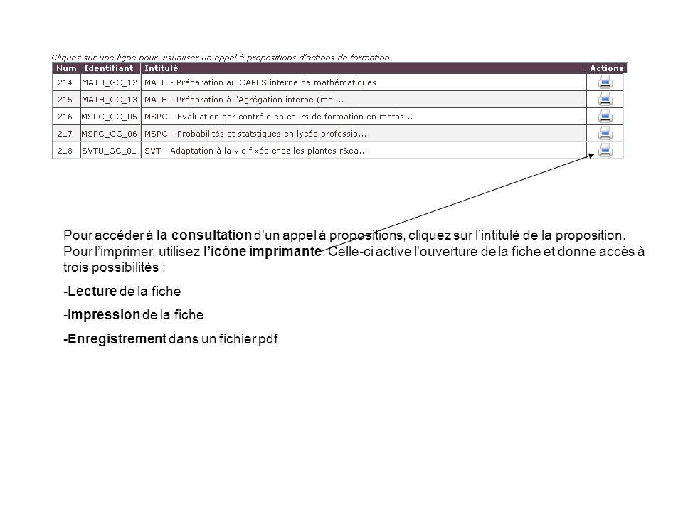 Pour accéder à la consultation dun appel à propositions, cliquez sur lintitulé de la proposition.