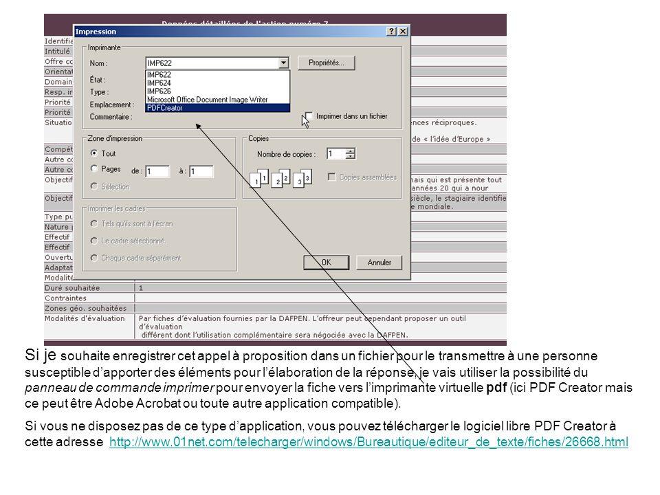 Si je souhaite enregistrer cet appel à proposition dans un fichier pour le transmettre à une personne susceptible dapporter des éléments pour lélaboration de la réponse, je vais utiliser la possibilité du panneau de commande imprimer pour envoyer la fiche vers limprimante virtuelle pdf (ici PDF Creator mais ce peut être Adobe Acrobat ou toute autre application compatible).