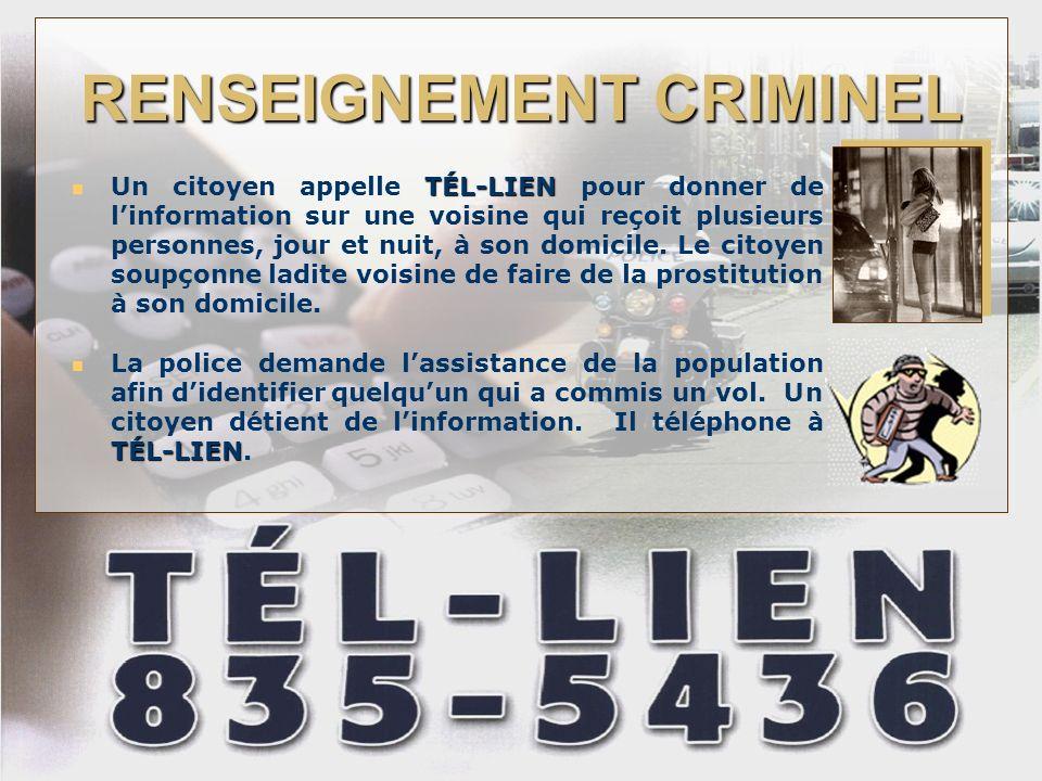 RENSEIGNEMENT CRIMINEL TÉL-LIEN Un citoyen appelle TÉL-LIEN pour donner de linformation sur une voisine qui reçoit plusieurs personnes, jour et nuit, à son domicile.