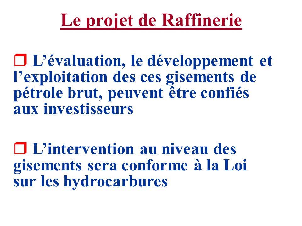 Le projet de Raffinerie r Lévaluation, le développement et lexploitation des ces gisements de pétrole brut, peuvent être confiés aux investisseurs r L