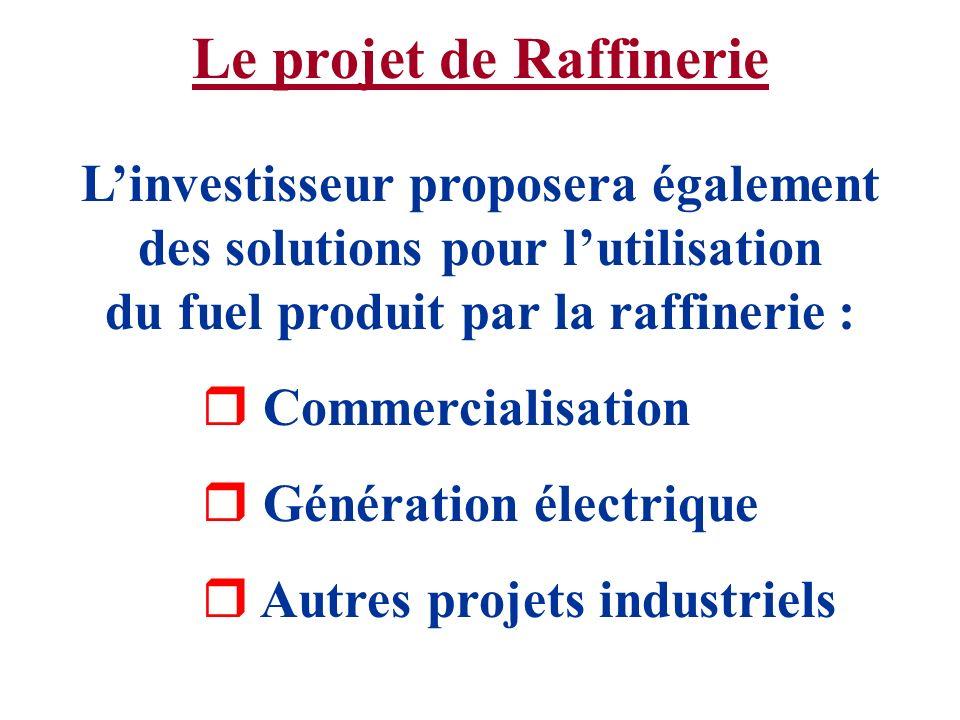 Le projet de Raffinerie Linvestisseur proposera également des solutions pour lutilisation du fuel produit par la raffinerie : r Commercialisation r Gé