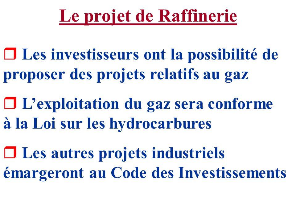 Le projet de Raffinerie r Les investisseurs ont la possibilité de proposer des projets relatifs au gaz r Lexploitation du gaz sera conforme à la Loi s