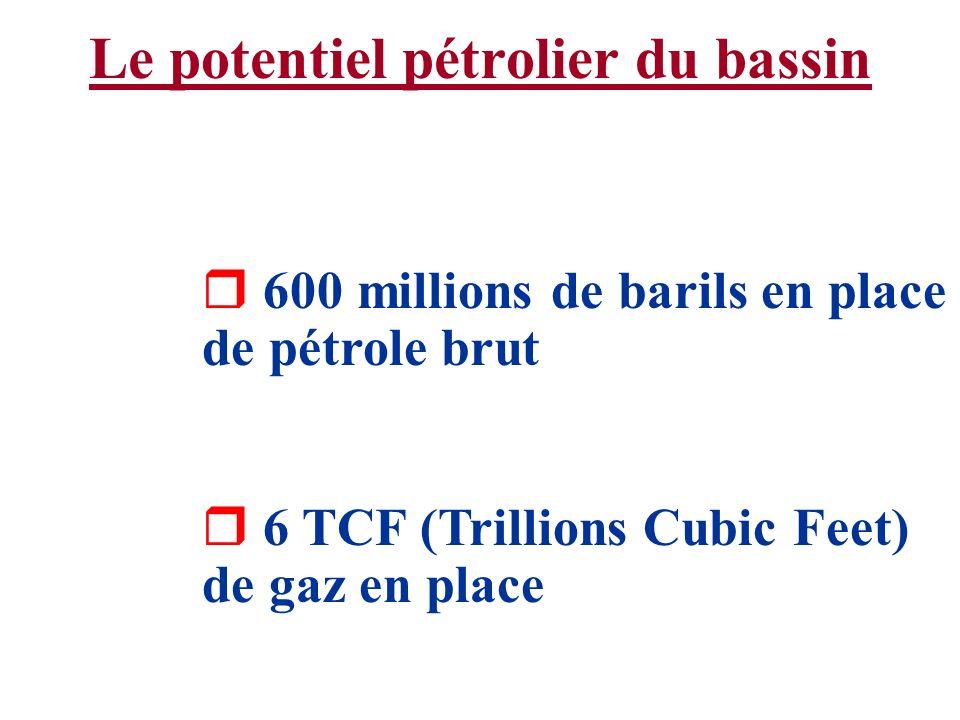 Le potentiel pétrolier du bassin r 600 millions de barils en place de pétrole brut r 6 TCF (Trillions Cubic Feet) de gaz en place