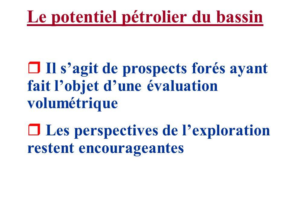 Le potentiel pétrolier du bassin r Il sagit de prospects forés ayant fait lobjet dune évaluation volumétrique r Les perspectives de lexploration reste