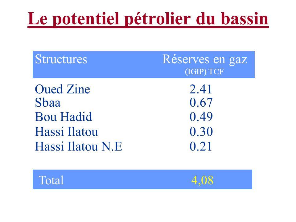 Le potentiel pétrolier du bassin Structures Oued Zine Sbaa Bou Hadid Hassi Ilatou Hassi Ilatou N.E Réserves en gaz (IGIP) TCF 2.41 0.67 0.49 0.30 0.21