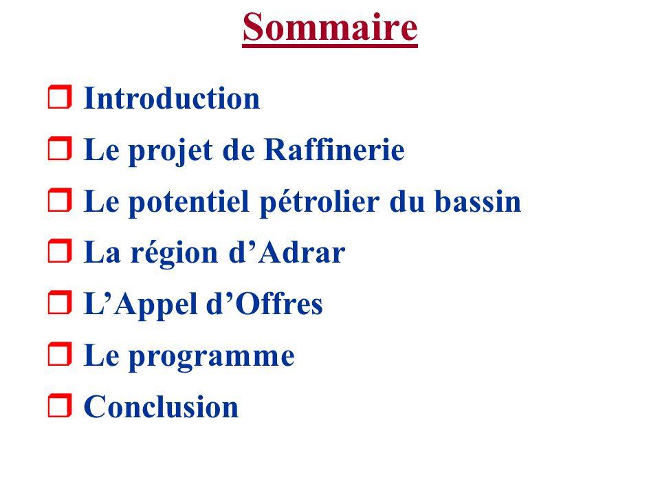 Introduction r Le MEM a lancé en décembre 2000 un Appel dOffres pour la réalisation dune raffinerie dans la région dAdrar r A lheure actuelle se déroule dans cet hôtel le data-room qui a commencé le 17 janvier 2001 et qui continuera jusquau 28 février 2001