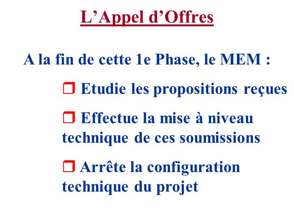 LAppel dOffres A la fin de cette 1e Phase, le MEM : r Etudie les propositions reçues r Effectue la mise à niveau technique de ces soumissions r Arrête