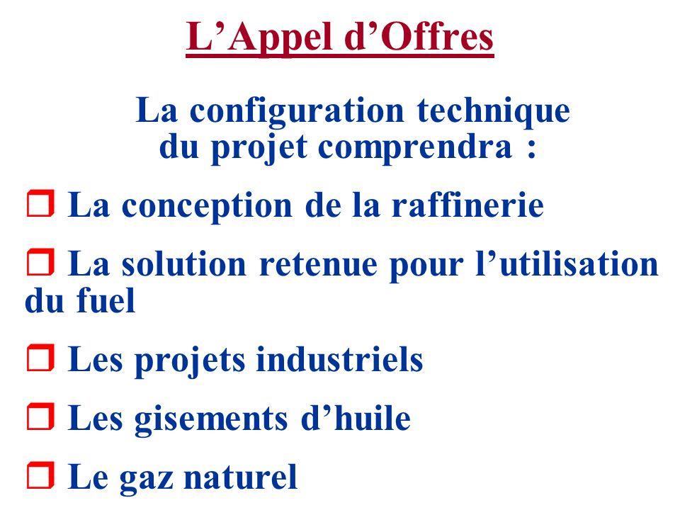 LAppel dOffres La configuration technique du projet comprendra : r La conception de la raffinerie r La solution retenue pour lutilisation du fuel r Le
