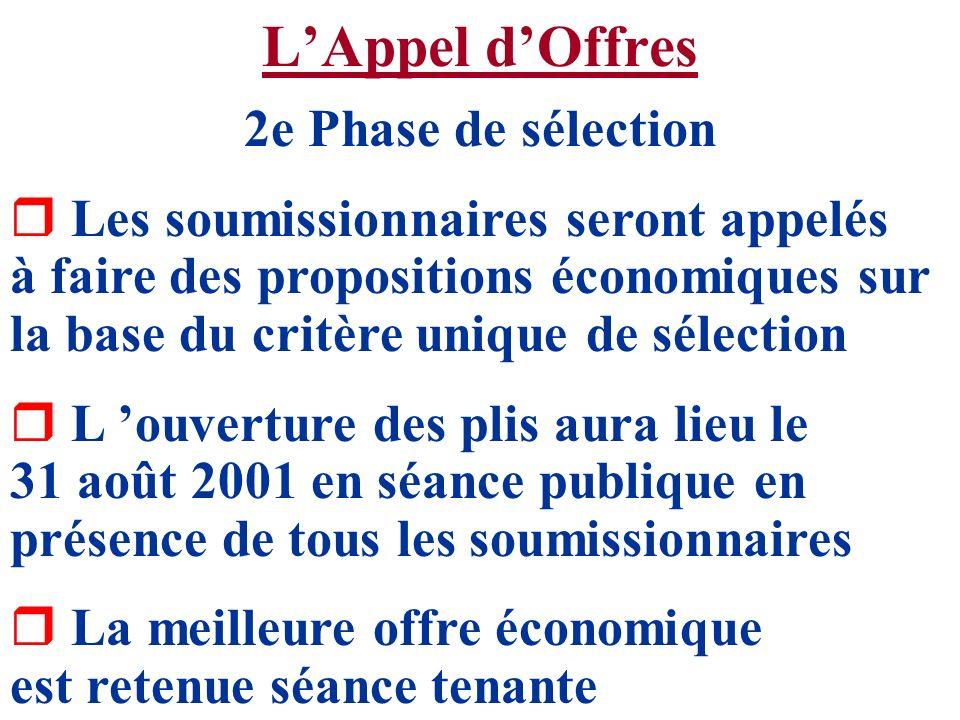 LAppel dOffres 2e Phase de sélection r Les soumissionnaires seront appelés à faire des propositions économiques sur la base du critère unique de sélec