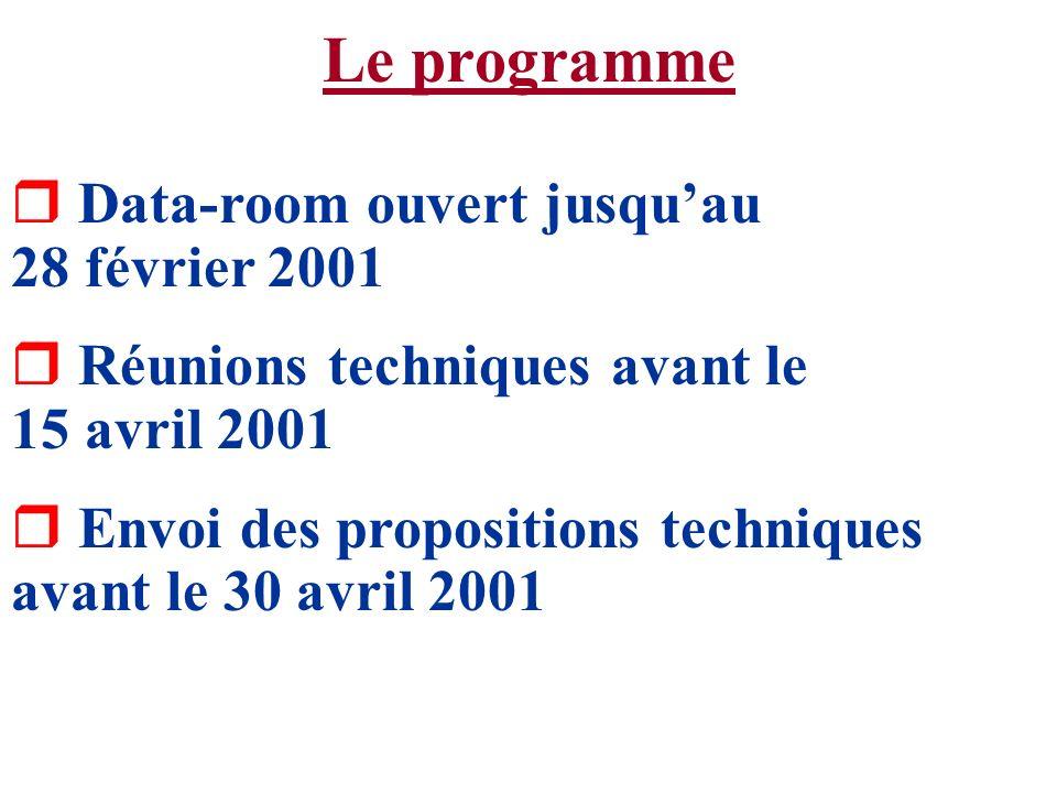 Le programme r Data-room ouvert jusquau 28 février 2001 r Réunions techniques avant le 15 avril 2001 r Envoi des propositions techniques avant le 30 a