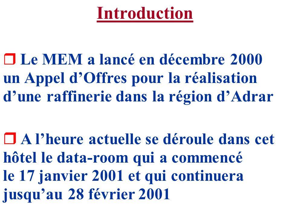 Introduction r Le MEM a lancé en décembre 2000 un Appel dOffres pour la réalisation dune raffinerie dans la région dAdrar r A lheure actuelle se dérou