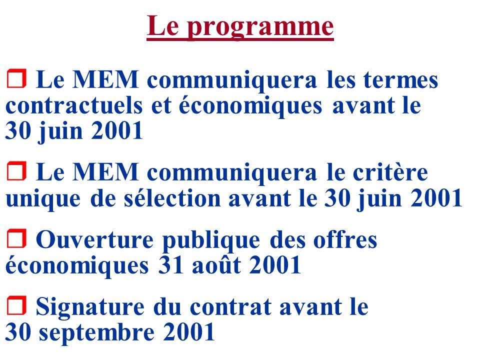 Le programme r Le MEM communiquera les termes contractuels et économiques avant le 30 juin 2001 r Le MEM communiquera le critère unique de sélection a