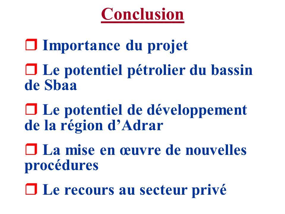 Conclusion r Importance du projet r Le potentiel pétrolier du bassin de Sbaa r Le potentiel de développement de la région dAdrar r La mise en œuvre de