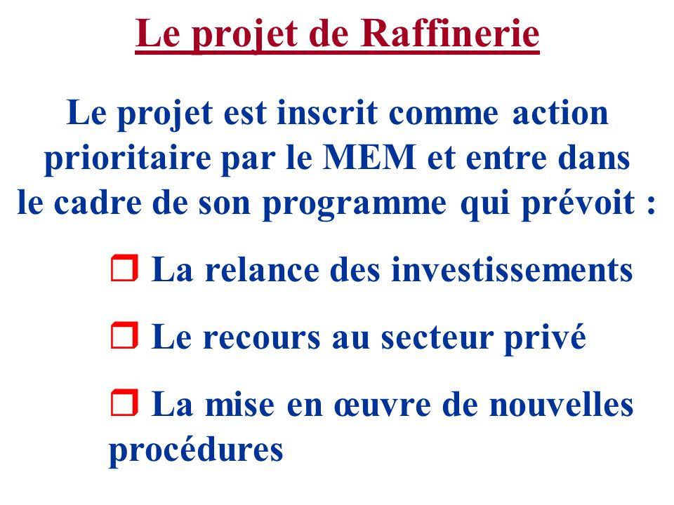 Le projet de Raffinerie Le projet est inscrit comme action prioritaire par le MEM et entre dans le cadre de son programme qui prévoit : r La relance d