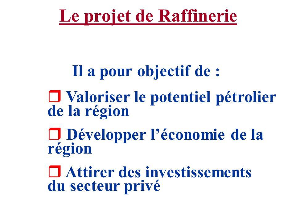 Le projet de Raffinerie Il a pour objectif de : r Valoriser le potentiel pétrolier de la région r Développer léconomie de la région r Attirer des inve