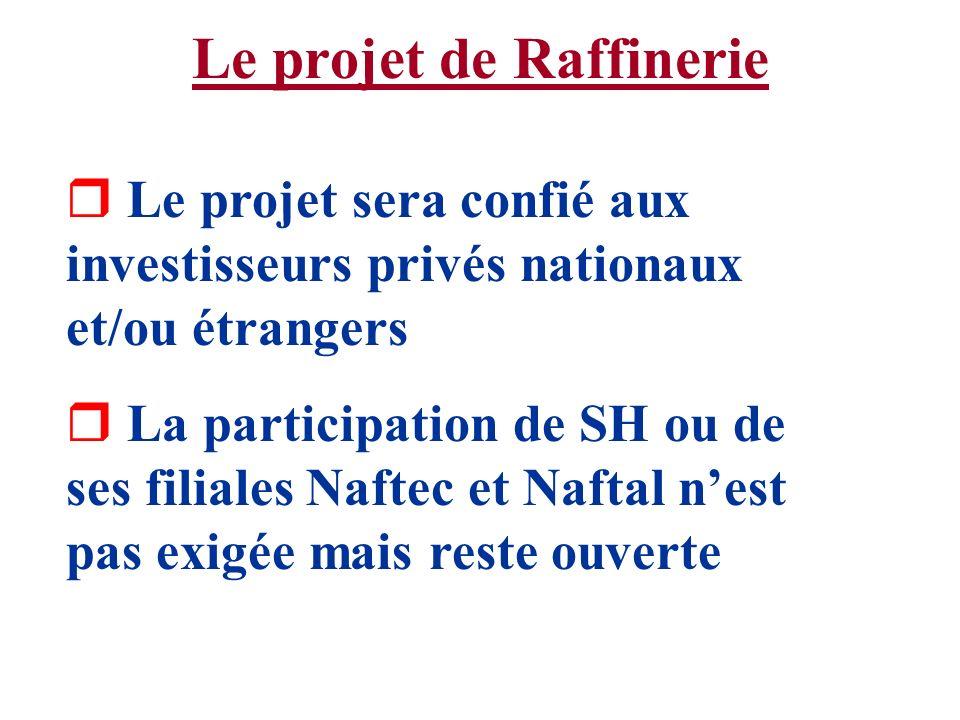 Le projet de Raffinerie r Le projet sera confié aux investisseurs privés nationaux et/ou étrangers r La participation de SH ou de ses filiales Naftec