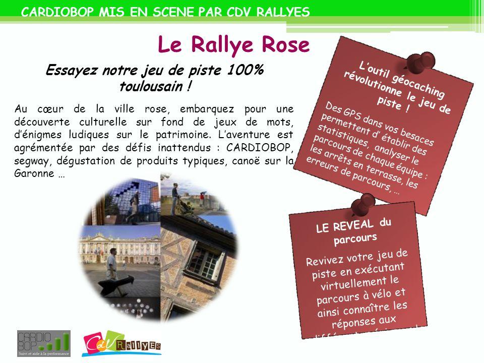 CARDIOBOP MIS EN SCENE PAR CDV RALLYES Le Rallye Rose Essayez notre jeu de piste 100% toulousain ! Au cœur de la ville rose, embarquez pour une découv