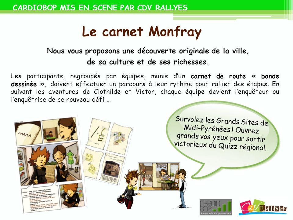 CARDIOBOP MIS EN SCENE PAR CDV RALLYES Le carnet Monfray Nous vous proposons une découverte originale de la ville, de sa culture et de ses richesses.