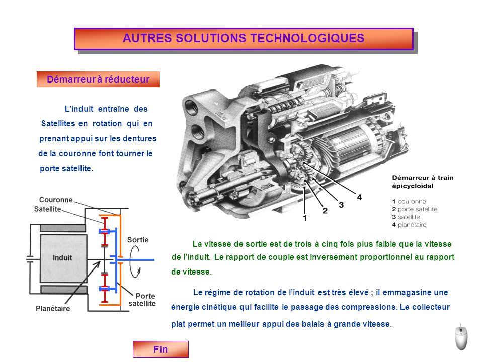 AUTRES SOLUTIONS TECHNOLOGIQUES Démarreur à réducteur Fin Linduit entraîne des Satellites prenant appui sur les dentures de la couronne porte satellite.
