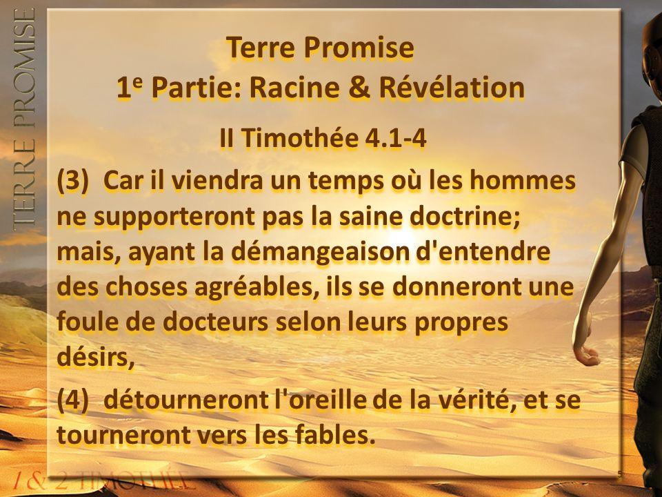 Terre Promise 1 e Partie: Racine & Révélation 1.Lappel dun Père (1.1-2) 2.Lapprofondissement pour tout le peuple, lavertissement personnel (3.14-17) 3.Lassurance de la promesse (2.9) 1.Lappel dun Père (1.1-2) 2.Lapprofondissement pour tout le peuple, lavertissement personnel (3.14-17) 3.Lassurance de la promesse (2.9) 6