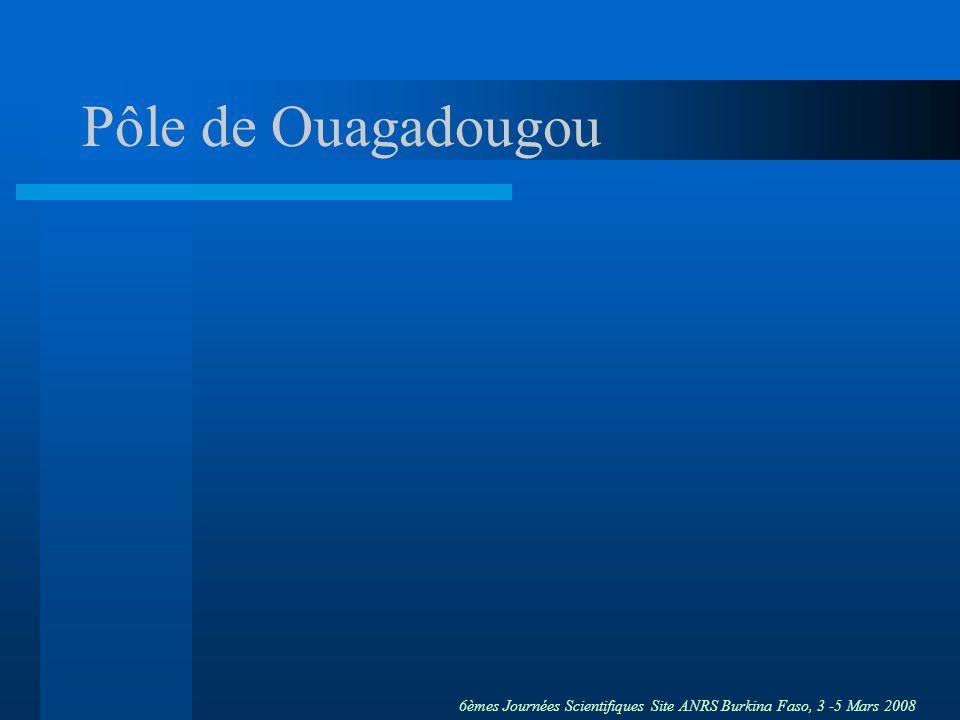 6èmes Journées Scientifiques Site ANRS Burkina Faso, 3 -5 Mars 2008 Objectifs Principal Constituer une plate-forme de recherche clinique (futurs essais dintervention, autres études) Spécifiques –Analyser la situation des femmes à risque dinfection par le VIH à Ouagadougou –Obtenir des données de prévalence et dincidence sur le VIH et les IST (préparation études vaccinales ou de prévention du VIH) –Constituer un réseau de collaborations (prévention, aide sociale, prise en charge médicale et recherche)