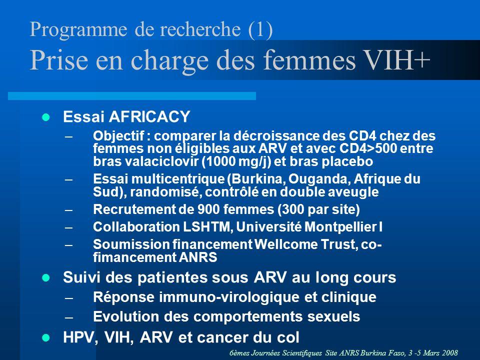 6èmes Journées Scientifiques Site ANRS Burkina Faso, 3 -5 Mars 2008 Programme de recherche (2) Transmission du VIH –Fréquence qualitative et quantitative de la sécrétion génitale VIH rapportée à la sécrétion plasmatique suivi de la cohorte –Etude bio-comportementale et qualitative chez les partenaires sexuels des femmes de la cohorte avec léquipe SHADEI appel doffres ANRS mars 2008 –Modélisation transmission VIH TS-partenaires- population generale : LSHTM (Wellcome Trust?) –Evolution de la résistance virale : génotypage des souches virales génitales et plasmatiques, profil de résistance aux ARV, avant et sous ARV, selon portage génital HSV-2 appel doffres ANRS septembre 2008