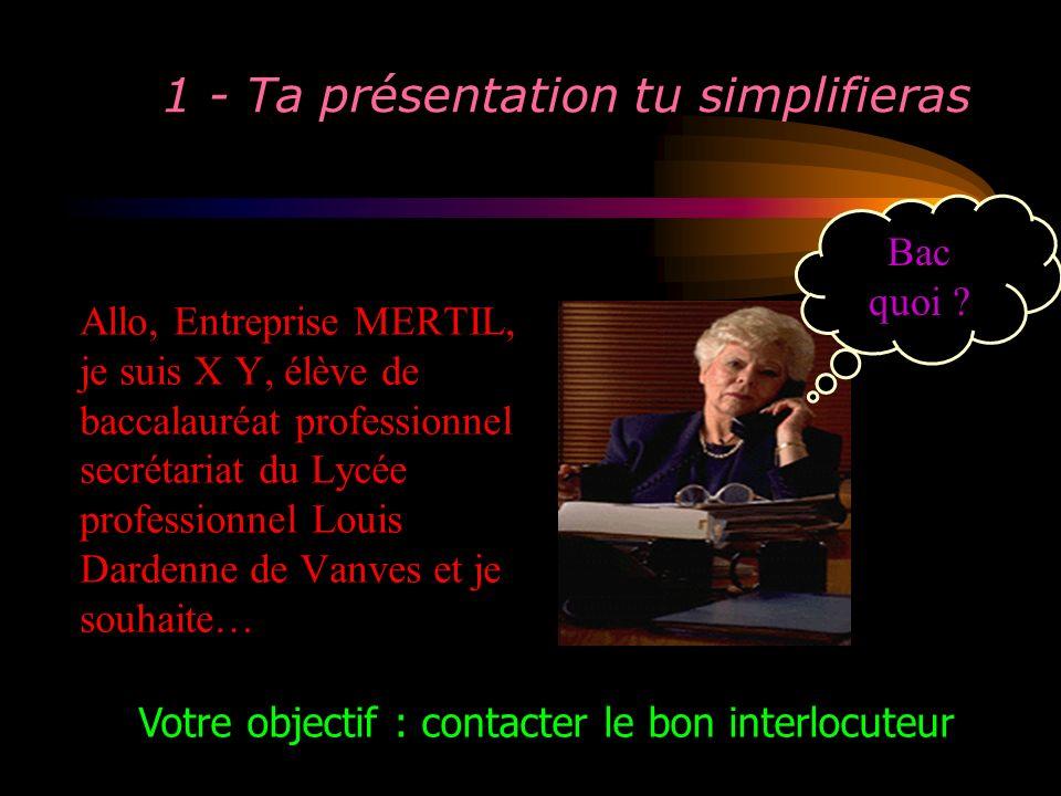 1 - Ta présentation tu simplifieras Allo, Entreprise MERTIL, je suis X Y, élève de baccalauréat professionnel secrétariat du Lycée professionnel Louis