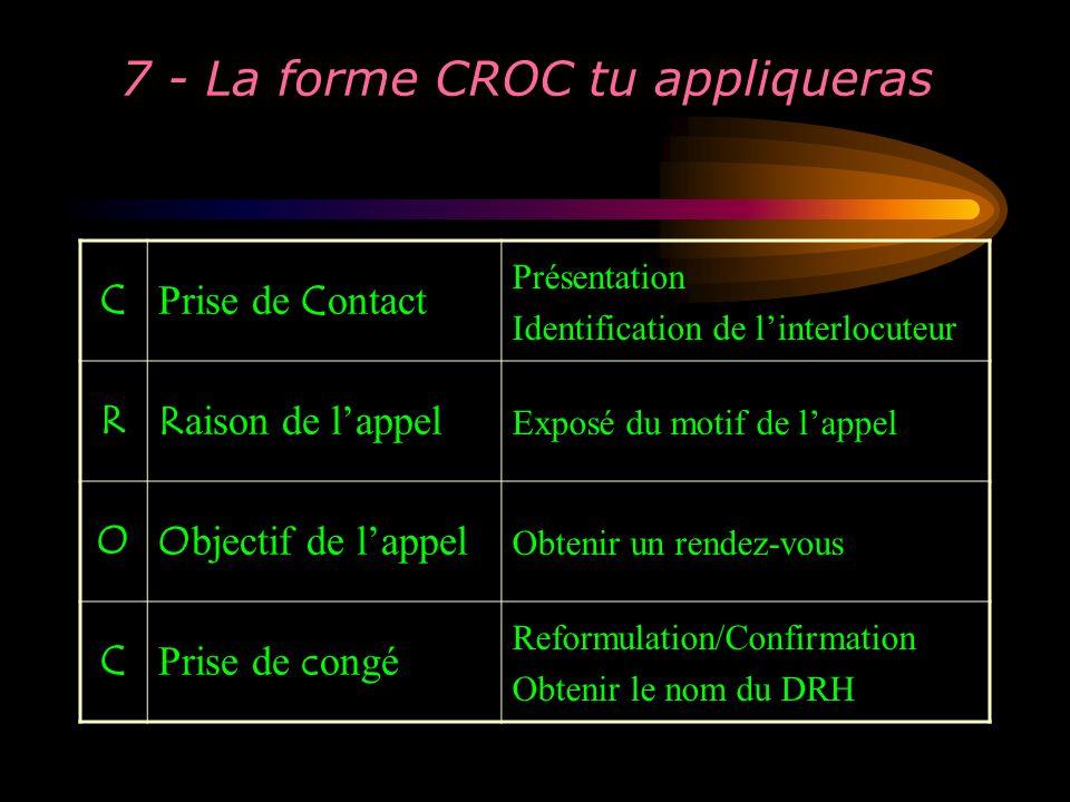 7 - La forme CROC tu appliqueras C Prise de C ontact Présentation Identification de linterlocuteur RR aison de lappel Exposé du motif de lappel OO bje