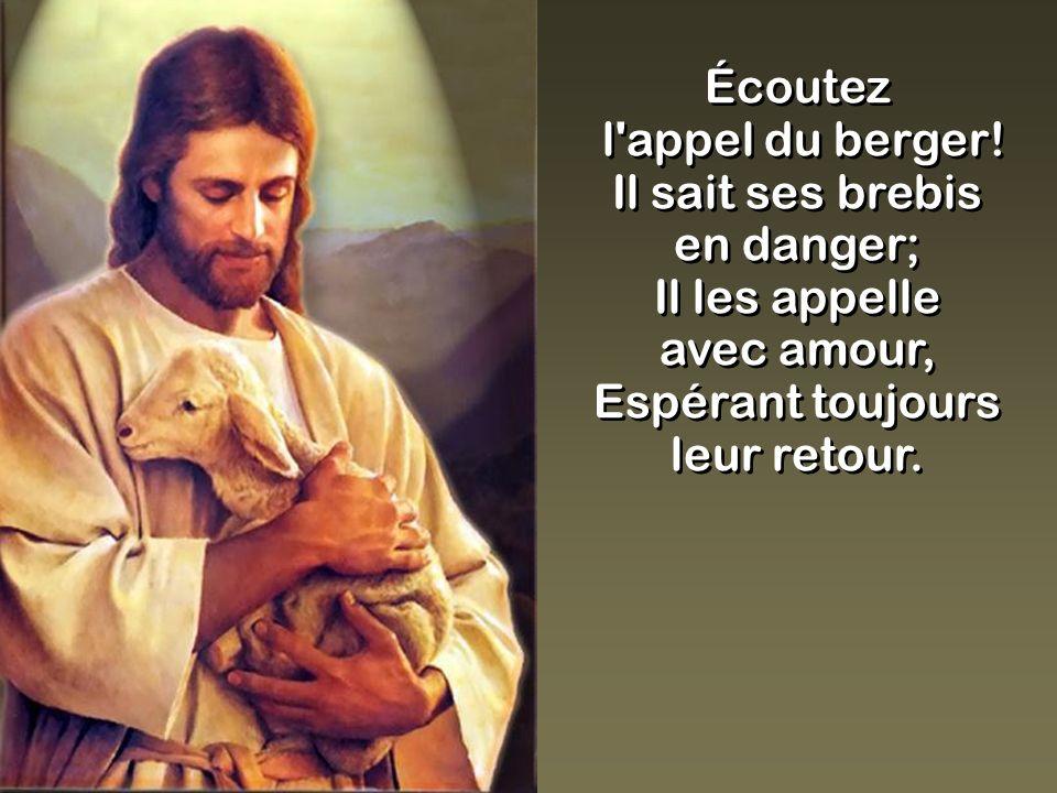 Écoutez l'appel du berger! Il sait ses brebis en danger; Il les appelle avec amour, Espérant toujours leur retour. Écoutez l'appel du berger! Il sait