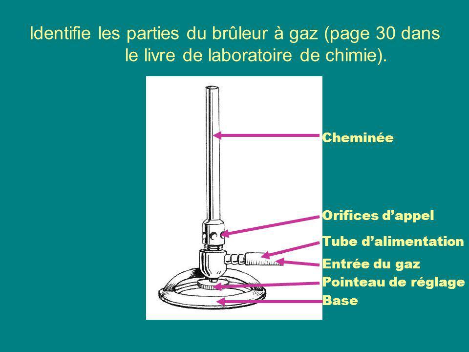 Identifie les parties du brûleur à gaz (page 30 dans le livre de laboratoire de chimie). Cheminée Tube dalimentation Entrée du gaz Pointeau de réglage