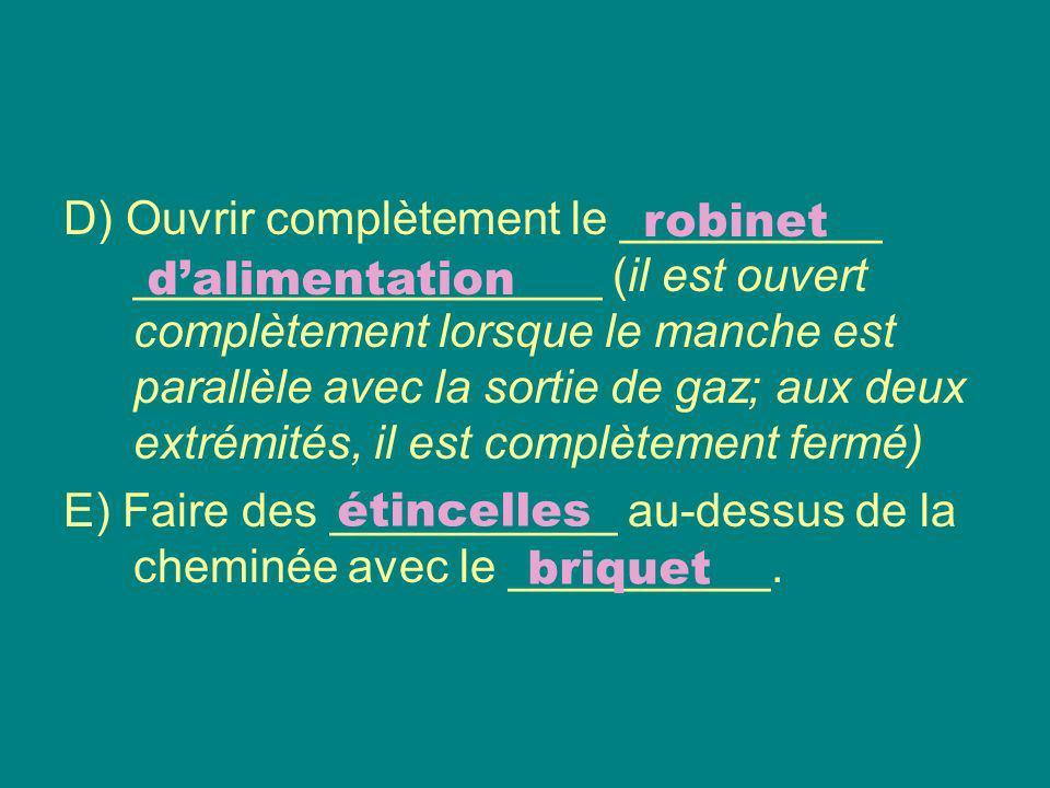 F) Régler la ____________ de la flamme (à laide du pointeau de réglage) et la ___________ de la flamme (à laide des orifices dappel).